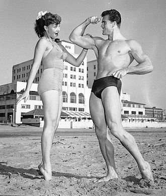 Bodybuilding - Model Jackie Coey with Mr. Los Angeles contestant Ed Fury in 1953
