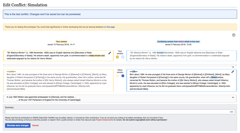 Edit Conflict Interface, prototype of the paragraph-based approach.png