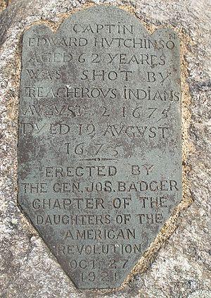 Edward Hutchinson (captain) - Grave marker for Captain Edward Hutchinson, Springhill Cemetery, Marlborough, Massachusetts