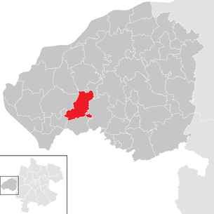 Location of the community Eggelsberg in the Braunau am Inn district (clickable map)