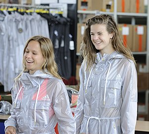 Germany at the 2016 Summer Olympics - Elena Wassen and Maria Kurjo (from right) at the Clothing of the German Olympic team.