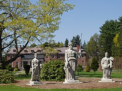 Elm Bank, Wellesley, MA - Goddesses and Mansion.JPG