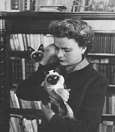 Elsa Morante with her cats at her apartment in Rome