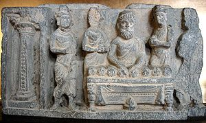 Relics associated with Buddha - The division of the relics of the Buddha by Drona the Brahmin, Gandhara, Zenyōmitsu-Temple Museum, Tokyo