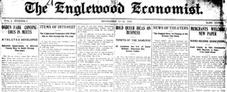 William Wilson Talcott - First issue of The Englewood Economist