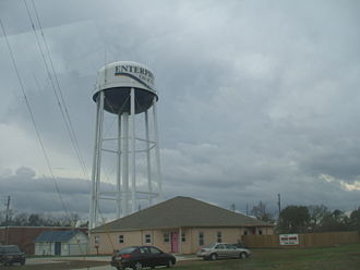 Enterprise, Alabama - One of the water towers of Enterprise showing the city motto