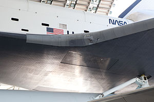 Space Shuttle Enterprise - Damage to the leading edge of the wing from the impact tests