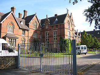Hereford College of Education - View of the entrance to the college as seen in 2008. The former Hereford College of Education's campus is now home to the Royal National College for the Blind.