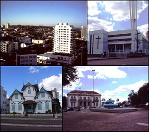 Erechim - Top left:View of downtown Aratiba area, Top right:Erechin Cathedral, Bottom left:Castelinho native house in Alemanda street, Bottom right:A fountain in Bandeira Square, near Tiradentles Avenue