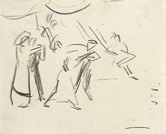 Cross dressing ball - Dance scene (dancing people in Eldorado) (1910), sketch by Ernst Ludwig Kirchner (1880-1938)