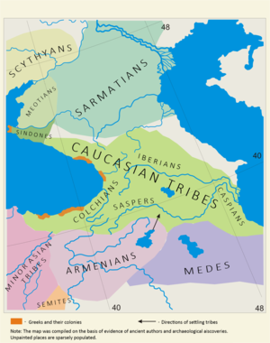 Caspians - Ethnic map of the Caucasus in the 5th and 4th centuries BC.