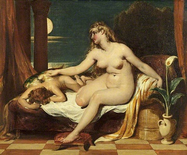 Naked woman sitting beside a sleeping man