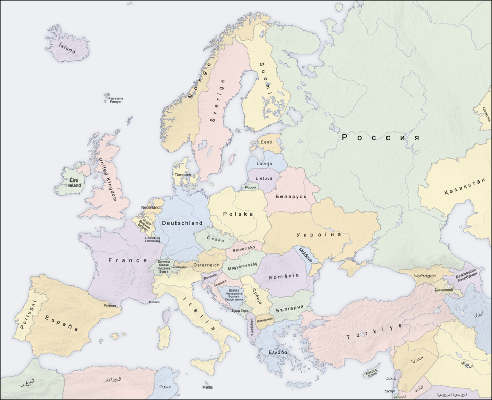 Europe countries map local lang