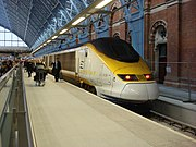 Eurostar train at St Pancras  having just arrived from Brussels Midi