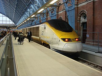 Rail transport in the United Kingdom - Image: Eurostar at St Pancras railway station