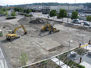 Everett Station - Construction of the Swift Bus Rapid Transit terminal in 2009
