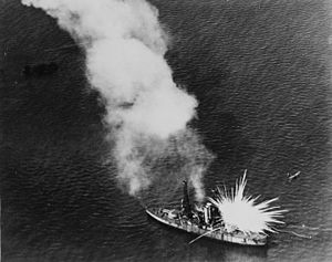USS Alabama (BB-8) - Alabama struck by a white phosphorus bomb
