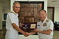 Exchange of mementos between Admiral Katsutoshi Kawano Chief of Staff Joint Staff of Japanese Self Defence Forces and Vice Adm Karambir Singh FOCINC ENC 2.jpg