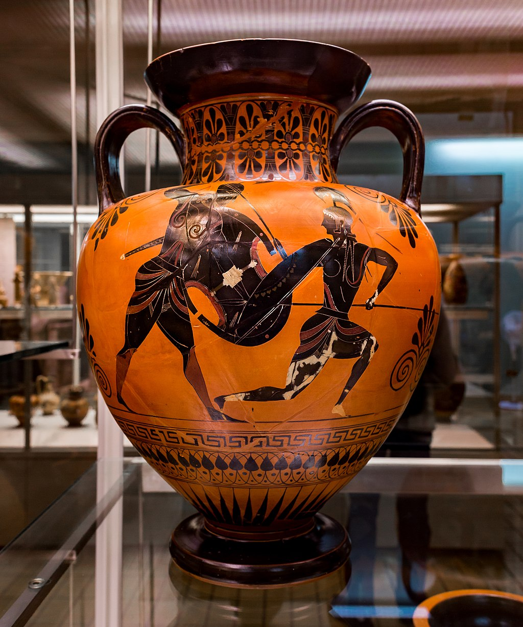Exekias - ABV 144 8 - Achilles and Penthesilea - Memnon between two of his soldiers - London BM 1849-0518-10 - 01