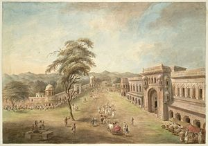 Kankhal - The gateway and facade of the chowk at Kankhal, 1814