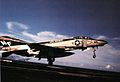 F-4N of VF-161 over USS Midway (CV-41) flight deck in 1975.jpg