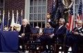 F.W. de Klerk, left, the last president of apartheid-era South Africa, and Nelson Mandela, his successor, wait to speak in Philadelphia, Pennsylvania LCCN2011634246.tif