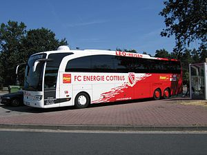 FC Energie Cottbus - Team bus of Energie Cottbus.