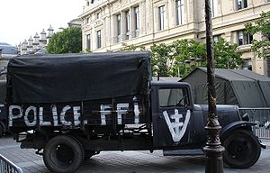 French Forces of the Interior - FFI and Vercors Republic marked captured truck during the battle for Paris (1944), on exhibition during the 60th anniversary celebrations of the liberation.