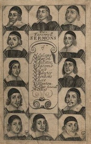 History of the Puritans from 1649 - Title page of a collection of Farewell Sermons preached by ministers ejected from their parishes in 1662.
