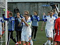 Faroe Islands celebrate after winning 2-1 against Greece.JPG