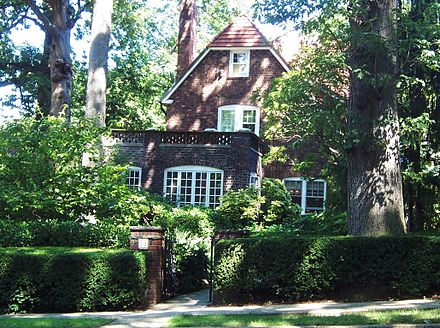 Ferraro and her family lived in this house in Forest Hills Gardens, Queens, during her time in the House of Representatives, her vice-presidential campaign, and until the early 2000s. FerraroHouseForestHillsGardens.jpg