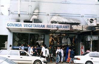 2000 Fijian coup d'état - The burnt out remains of Govinda's Restaurant in Suva: over 100 shops and businesses were ransacked in Suva's central business district on 19 May