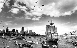 Australian Bicentenary - Tall ship First Fleet re-enactment on Sydney Harbour, Australia Day, 1988. The Australian Bicentenary was marked with much ceremony across Australia.