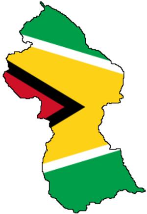 Education in Guyana - Image: Flag map of Guyana