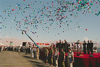 Israel–Jordan peace treaty - Balloons released into the air during the Israel-Jordan Peace Treaty signing ceremony at the Arava Terminal
