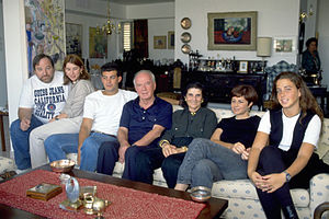 Yitzhak Rabin - Rabin at home with his wife, grandson, daughter, then son-in-law, and two of his granddaughters in 1992.