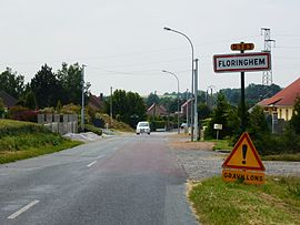 Floringhem (Pas-de-Calais, Fr) city limit sign.JPG