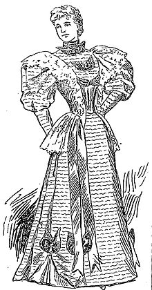 Drawing of a woman wearing a nineteenth century dress
