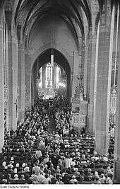 28 July 1950: memorial service for Bach in Leipzig's Thomaskirche, on the 200th anniversary of the composer's death (Source: Wikimedia)