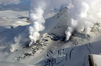 Fourpeaked Mountain - Fumaroles escape from Fourpeaked volcano through a fissure in Fourpeaked Glacier on 24 September 2006
