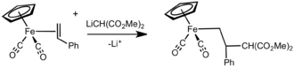 Addition of carbanion to [Fp(alkene)]+.