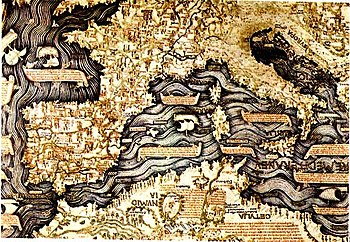 Fra Mauros world map, detailed view of Europe