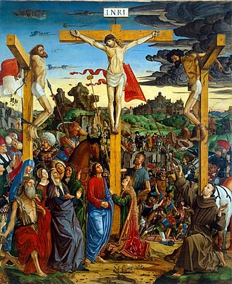 Francesco Bianchi (painter) - Crucifixion with St Jerome and St Francis (Galleria Estense, Modena)