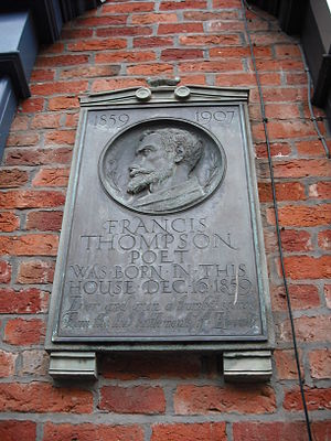 Francis Thompson - Memorial plaque to Thompson, Winckley Street, Preston