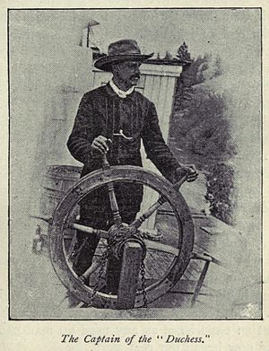 Frank P. Armstrong - Frank P. Armstrong at the helm of ''Duchess'', 1887