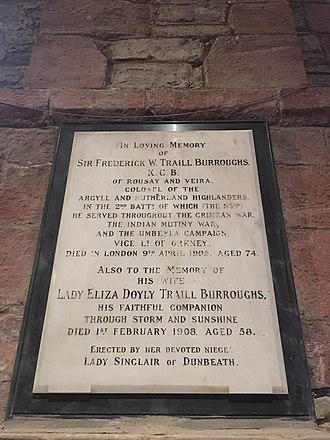 Frederick Traill-Burroughs - Frederick Trail-Burroughs memorial in Kirkwall Cathedral, Orkney