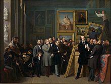 Die Bilderschau der Düsseldorfer Künstler im Galeriesaal, Friedrich Boser, 1844 – Friedrich von Uechtritz in der Bildmitte mit Stock und Zylinder[1] (Quelle: Wikimedia)
