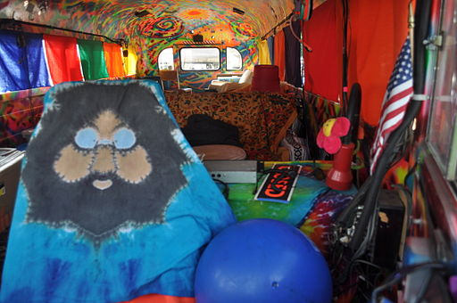 Interior, Further / Furthur, Ken Kesey and the Merry Pranksters famous bus, Hempfest 2010, Myrtle Edwards Park, Seattle, Washington, 2010, at which time it had recently been restored.
