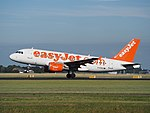 G-EZAV (aircraft) Airbus A319 (EasyJet) takeoff from Schiphol (AMS - EHAM), The Netherlands pic1.JPG