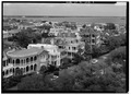 GENERAL VIEW OF SOUTH BATTERY FROM ATOP FORT SUMTER APARTMENTS - South Battery, Charleston, Charleston County, SC HABS SC,10-CHAR,341-2.tif